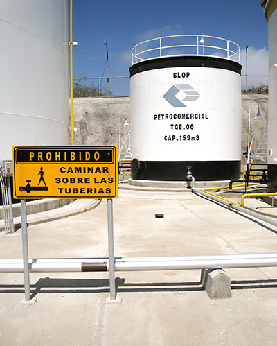 Advanced oil: A slop tank in Baltra's high-tech fuel terminal removes saltwater contamination from fuels as they enter the island, helping to stem engine pollution throughout the archipelago. ©Joshua Brockman 2007. All Rights Reserved.
