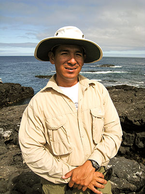 Galápagos National Park guide Harry Jiménez Jhonjones basks in the glow of Santiago Island. ©Joshua Brockman 2007. All Rights Reserved.