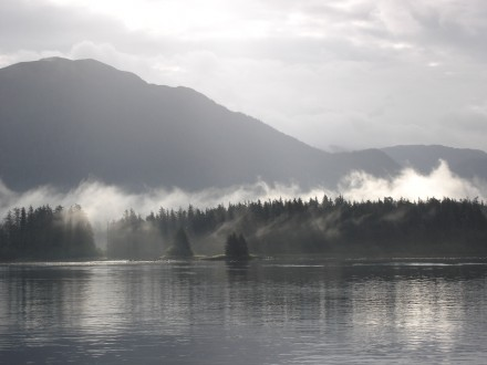 Morning mist rises above the islands and water near Sitka, Alaska. ©Joshua Brockman 2005. All Rights Reserved.