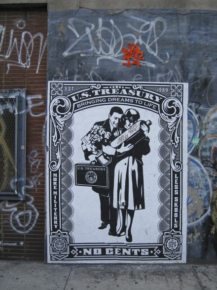 "Shepard Fairey's poster ""No Cents,"" stands against a backdrop of graffiti in New York City. ©Joshua Brockman 2008. All Rights Reserved."