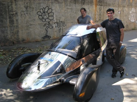 Team Edison2's Oliver Kuttner (left) and Brad Jaeger, one of the team's professional race car drivers, with the Very Light Car that won the mainstream class of the X Prize competition. ©Joshua Brockman 2010. All Rights Reserved.